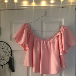 Tops - Pink off the shoulder cropped blouse!